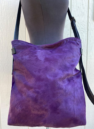 Crossbody, Black leather with Purple Hair on hide