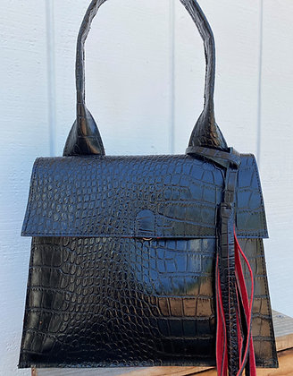 Shoulder bag, Black leather  lined with red suede