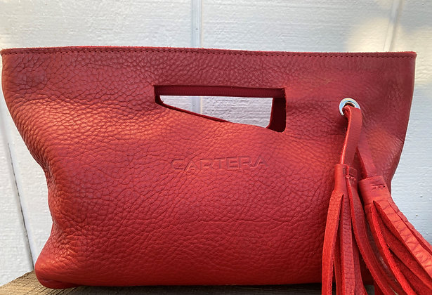 Clutch, Red Leather (soft leather, zipper)