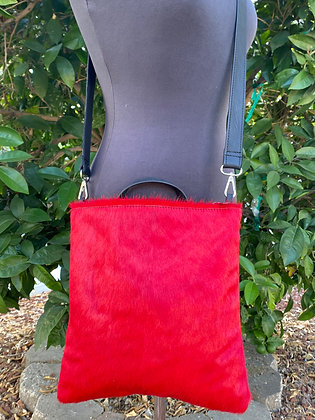 Crossbody / Clutch, Black leather with red hair on hide (zipper)