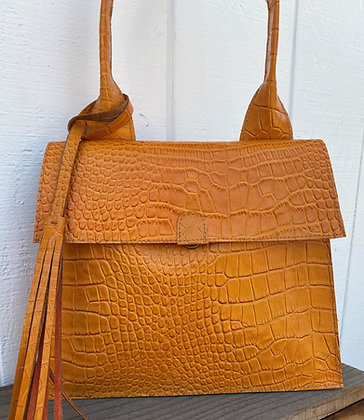 Shoulder bag, Orange leather lined with orange suede
