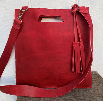Clutch / Crossbody, Red (distressed leather)