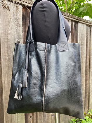 Tote, Metallic black leather with leather straps