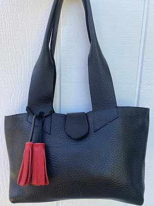 Small Shoulder bag, black leather purse with red tassel (zipper)
