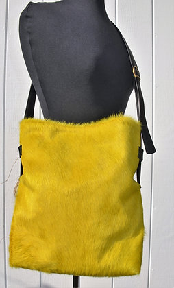Crossbody, Black leather with Yellow Hair on hide