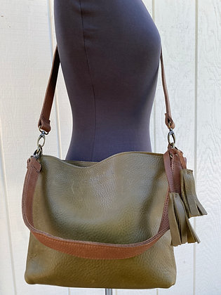 Crossbody & shoulder bag, Olive Green leather with 2 brown straps (zipper)