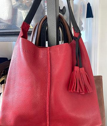 Shoulder bag, Red with an exterior pocket