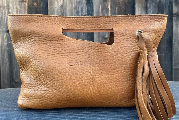 Clutch, Tan (soft leather, zipper)