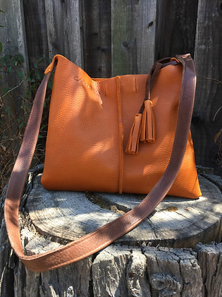 Crossbody, Orange with brown strap
