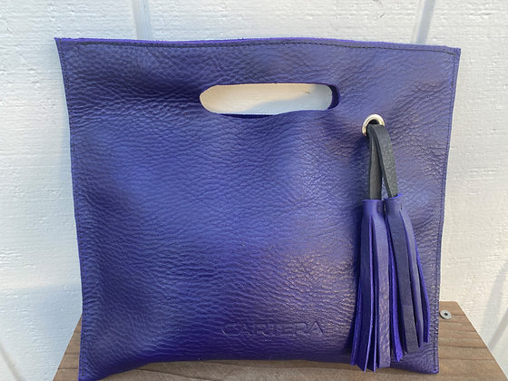 Purple leather clutch ( with 3 magnetic snaps)