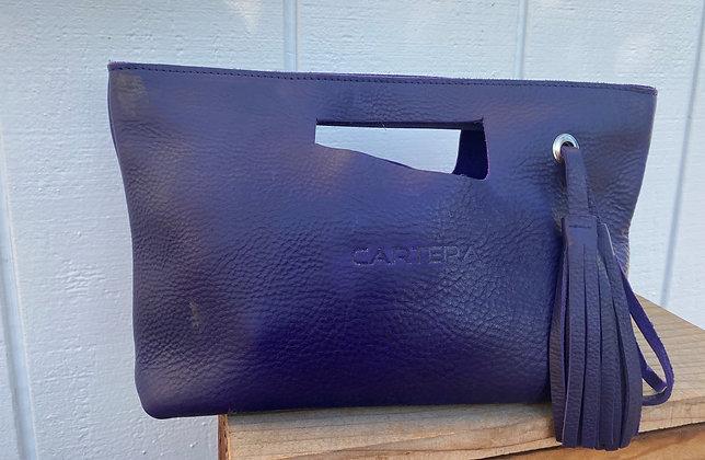 Clutch, Purple (soft leather, zipper)
