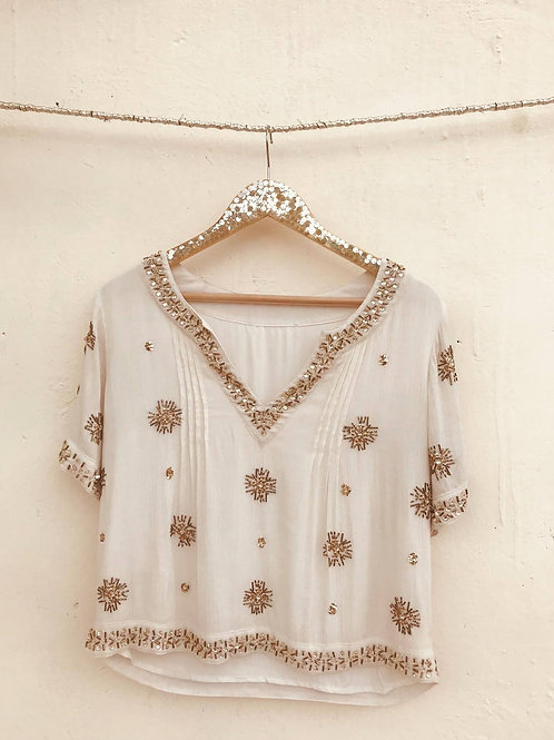 White star embellished Top