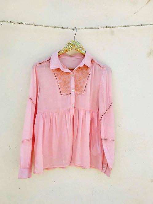 Peach Embroidered Shirt Tunic