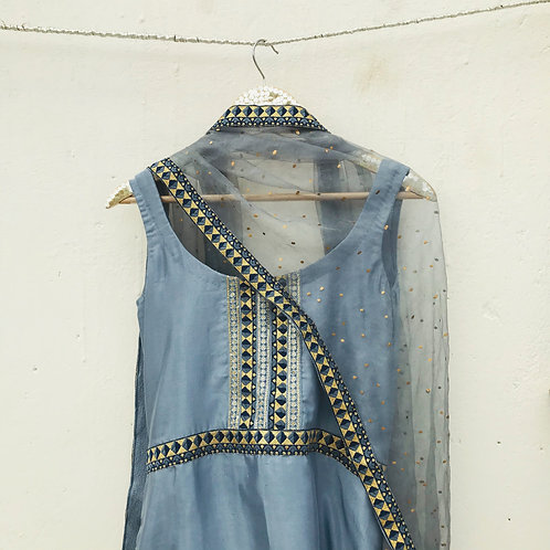 Ice Blue Grey Suit set with Organza Dupatta