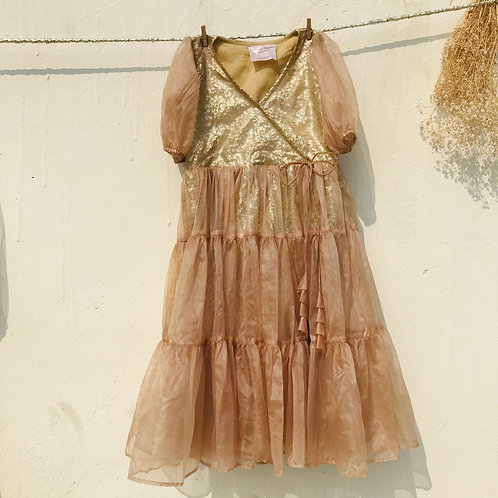 Kids Puff sleeve Organza Dress Golden Sequin underlay