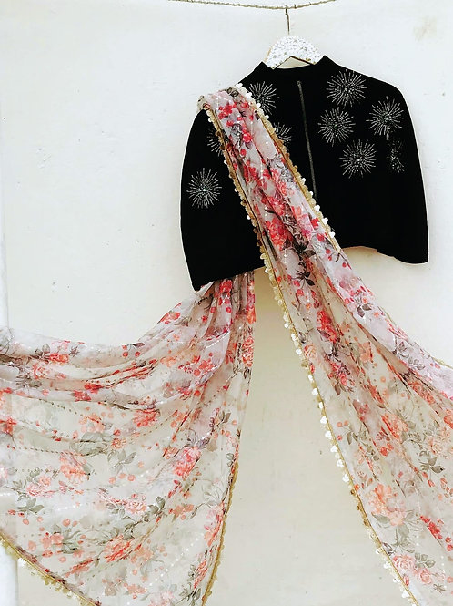 Embellished Cape with Printed Organza Saree