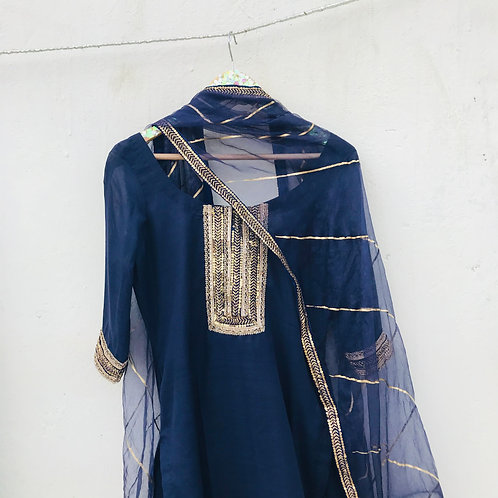 Ink Blue Suit set with Gold contrast work
