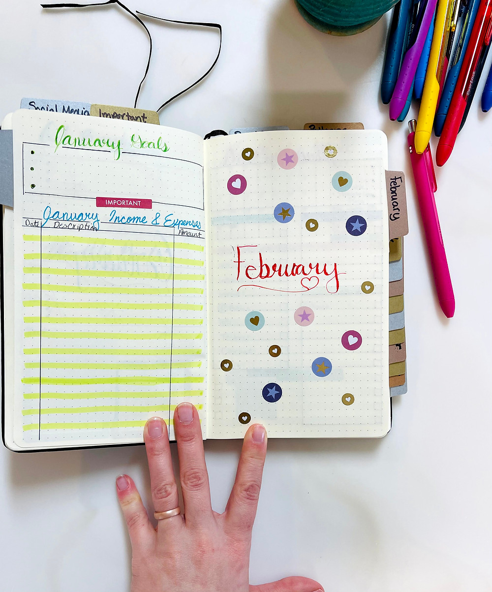 This image of the bullet journal the left page is January Goals, and the January Income and Expenses sheet. The right page is the February Month Cover Sheet