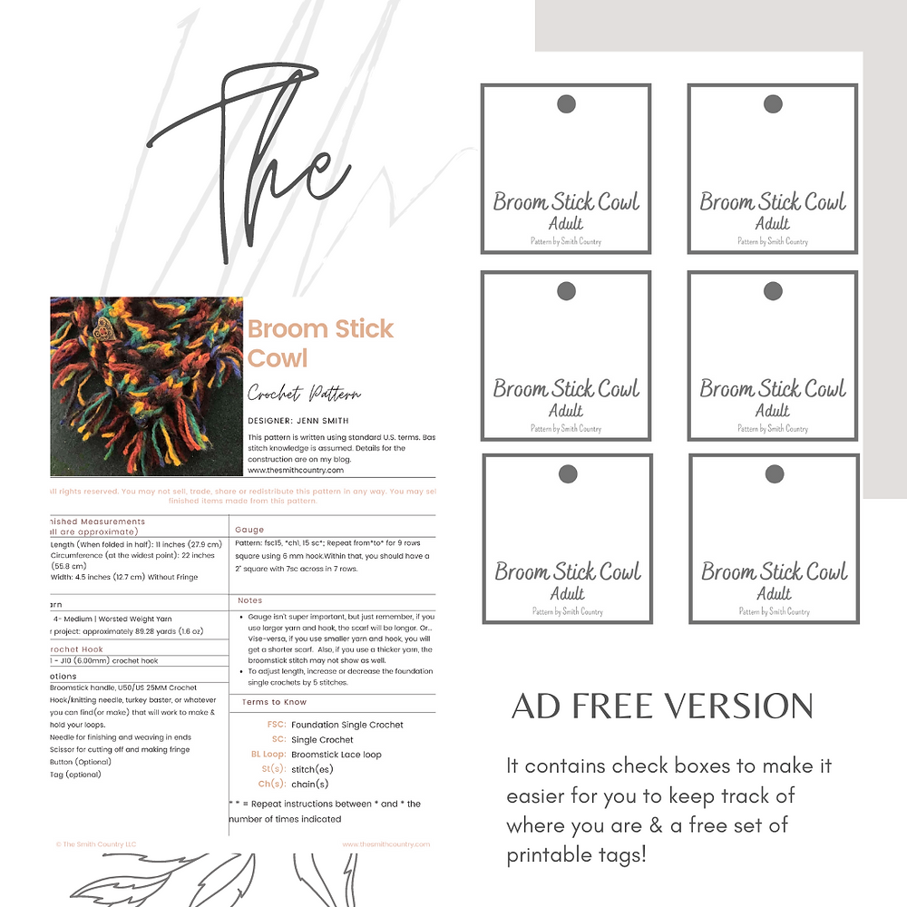 Copyright image of first page and printable tags that come with pattern