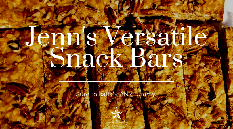 A close up image of the bars (light brown in color with pecans on top), with the title as follows: Jenn's Versatile Snack Bars (Sure to satisfy ANY tummy).