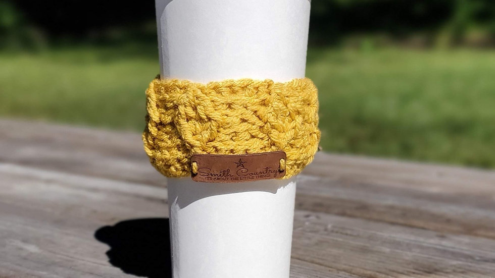 Leaf Me to My Coffee! Cup Sleeve Crochet Pattern