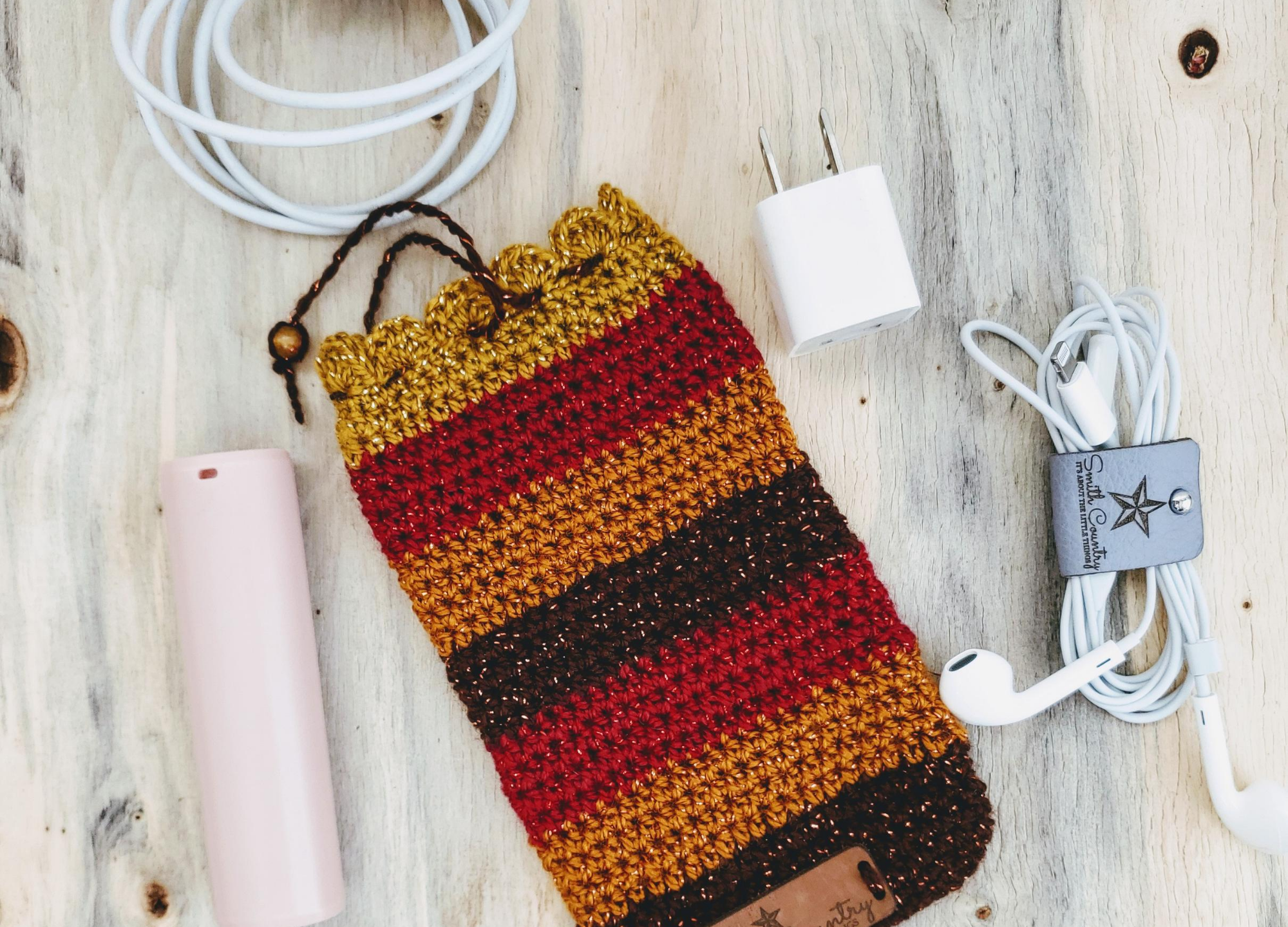 Autumn Themed Coloring of gold, red, orange, and brown stripping using Lion Brand Party Yarn.