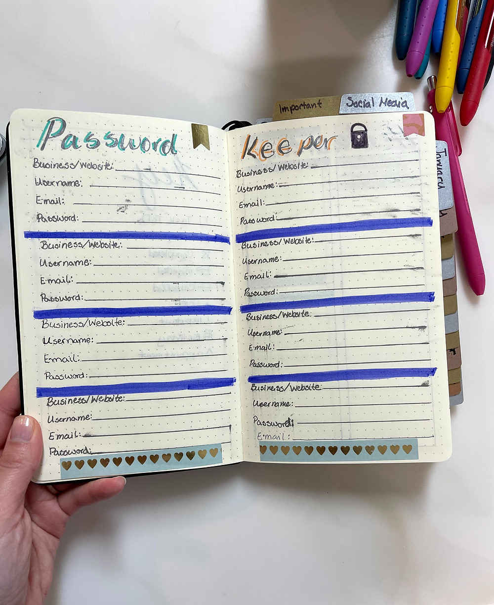 Image of the password keeper section of my bullet journal. Lots of smudging on the lines I drew.