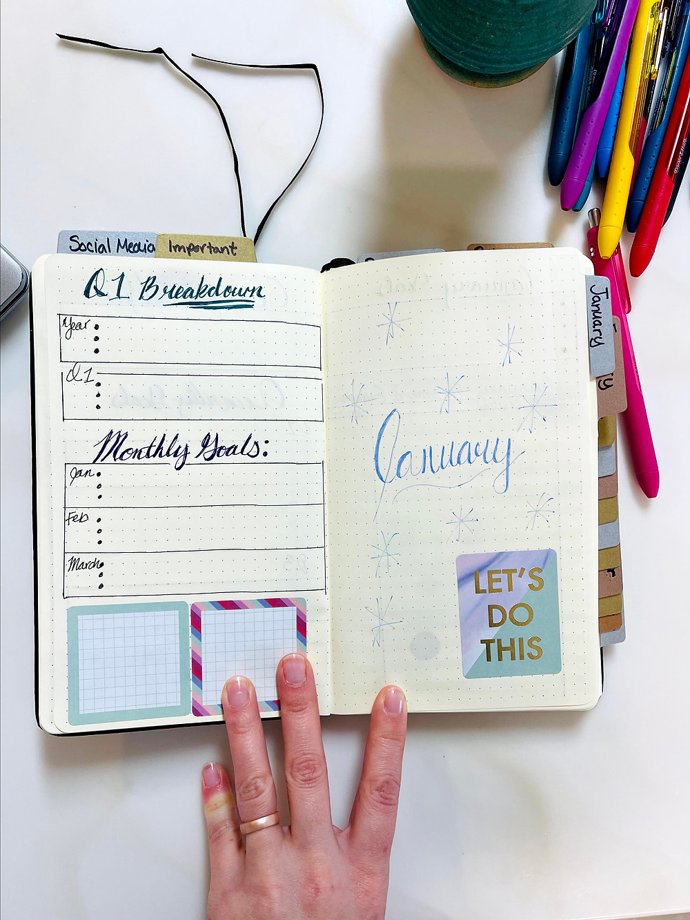 This image of the bullet journal the left page is the Quarter 1 breakdown, my 3 goals for the year, my three Quarter 1 goals and my goals for each month of Quarter 1 (Jan, Feb, and March). Each month also has 3 goals. The Right page is the Title Cover page for the Month of Januray.