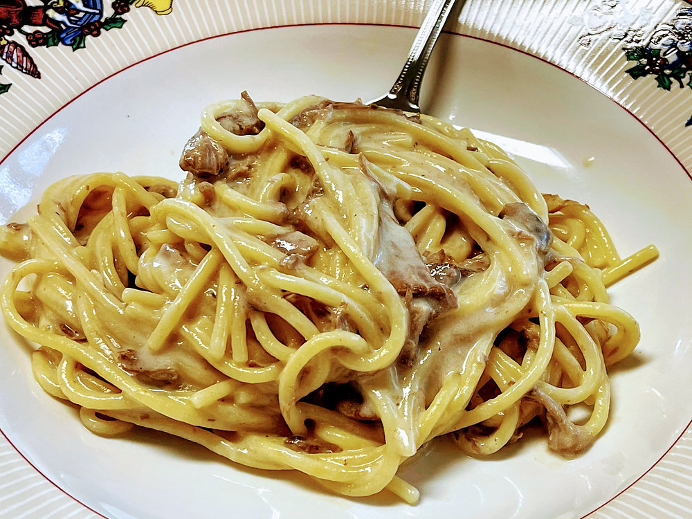 This batch pictured I used beef, spaghetti and morel mushrooms.