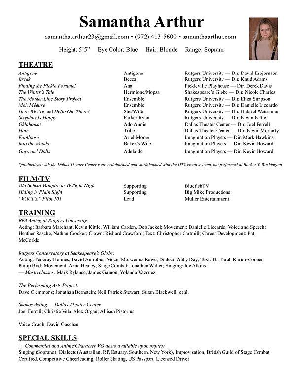 Samantha Arthur new and improved resume.