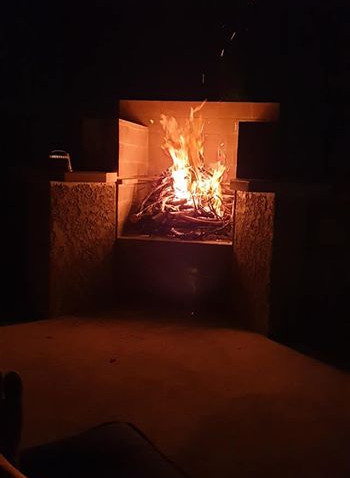 Fireplace a Go! Come on down and enjoy!