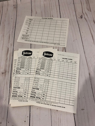 Vintage Yahtzee Score Sheets- Set Of 10