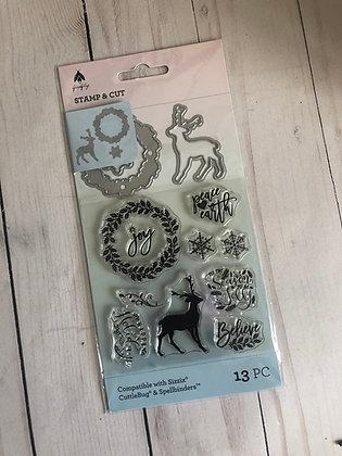 Christmas die and stamp set - Deer and Wreath