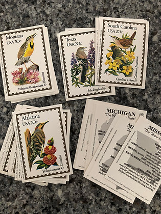 Birds and Flowers State Postage Stamp Cards