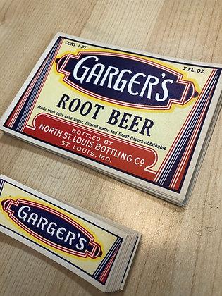 Set of 4 Garger's Root Beer Vintage Labels