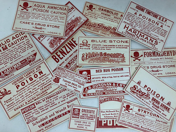 Vintage Pharmacy Poison  Stickers - Reproduced from original images