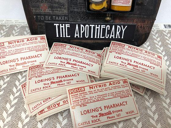 Vintage Poison Nitric Acid  Pharmacy labels