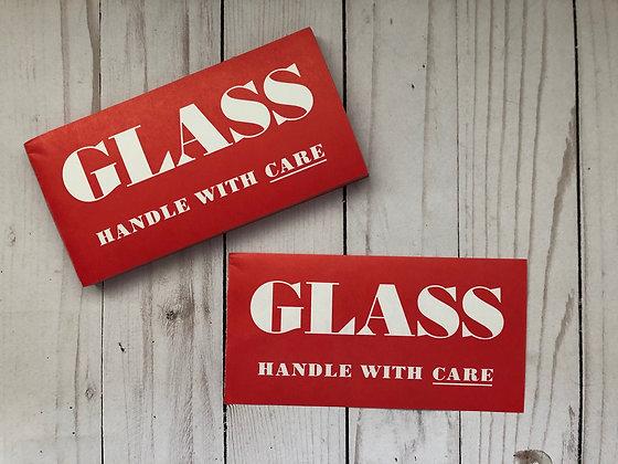 """Vintage Gummed GLASS Labels size 6"""" x 3"""""""