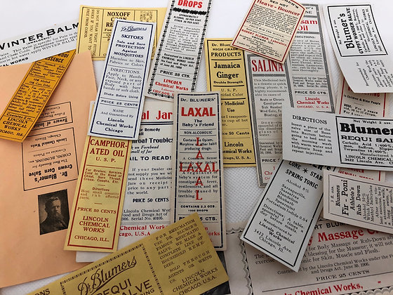 5 Vintage Dr. Blumers medical bottle labels