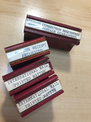 Vintage Wood Handle Postal Rubber Stamps