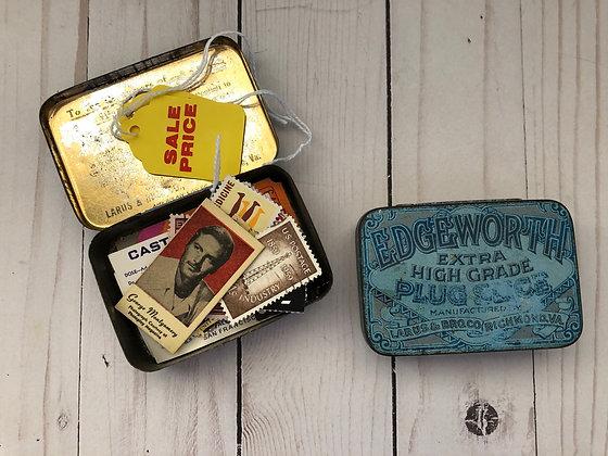 "Vintage Edgewood Extra High Grade Plug Slice Tobacco Tin 4.5""x3.25x2.2"""