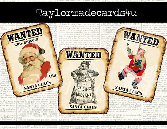 Wanted Poster Santa - 14 piece Digital image set