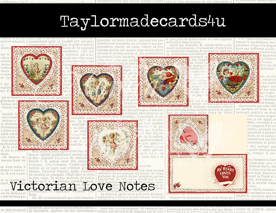 Victorian Valentine Love Notes - 10 Digital images