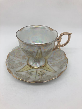 Fancy Base Tea Cup and Saucer