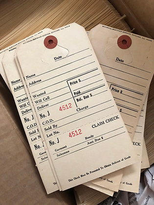 Vintage Clothier Claim Ticket tags from National Clothier