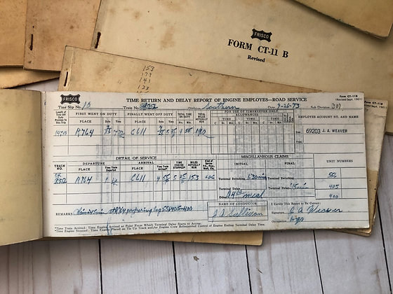 Railroad Form CT-11 B Road Service Booklet