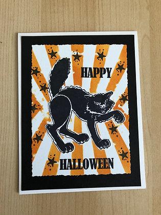 Retro Black Cat Halloween Card