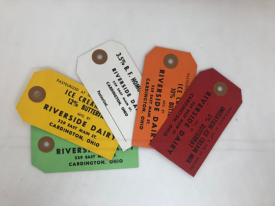 Set of 5 Riverdale Dairy Cream Can Tags