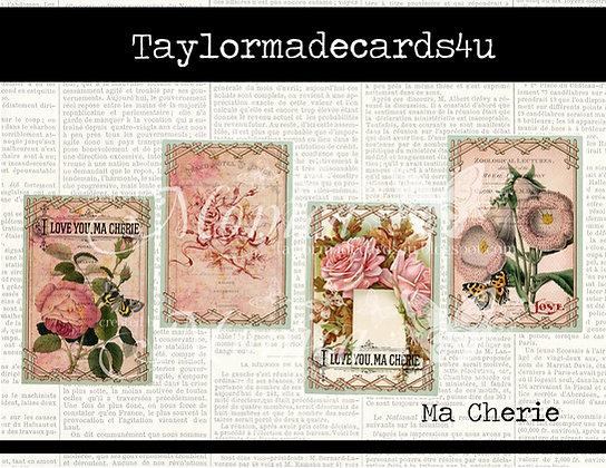 Vintage Floral ATC Journal Cards - 8 in a set