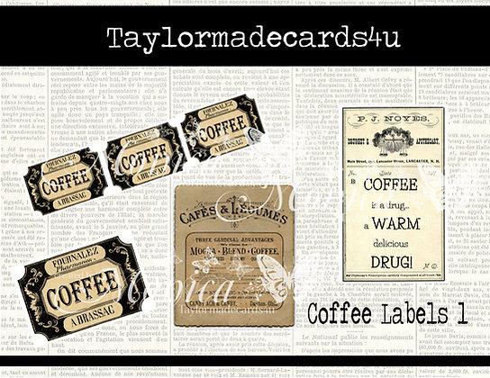 Coffee Labels - Vintage Digital Label Set